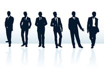 Business men in suits silhouette collection man silhouettes vintage male human body outline businessman suit blue fashion people s Stock Photo
