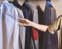 Men suits in a retail store Royalty Free Stock Image