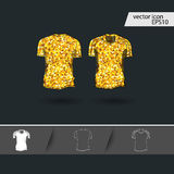 Men summer t-shirt vector icon in golden. Design, cartoon style isolated on dark background Royalty Free Stock Images