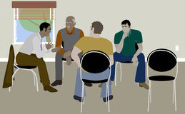 Men Support Group. Vector Illustration of men sitting in chairs in a circle like a Mens Support Group Royalty Free Stock Photo