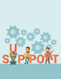 Men with support sign Royalty Free Stock Photo