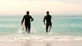 Men with surfboards running. In the water stock video footage