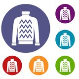 Men sweater icons set. In flat circle reb, blue and green color for web Stock Photos