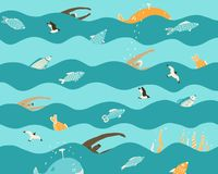 Swimmers swim in the sea with marine animals stock illustration