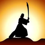Men with sword. This illustration can be used for your design Stock Illustration