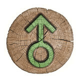 Men symbol. Male sign sex, wooden label. carved in wood isolated on white background Stock Photo