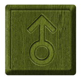 Men symbol. Male sign sex, wooden label. carved in wood isolated on white background Royalty Free Stock Photo