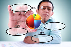 Men take a pie chart Royalty Free Stock Photo