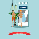 Men taking shower in fitness center vector concept poster. Male sauna in gym club illustration vector illustration