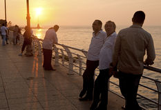 Men talking, Beirut city seafront Royalty Free Stock Photography