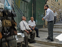 Men Talking in Jerusalem Street Royalty Free Stock Photos