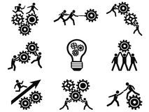 Men teamwork gears pictogram icons set Royalty Free Stock Image