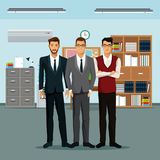 Men teamwork place furniture books cabinet file clock. Vector illustration Stock Photo