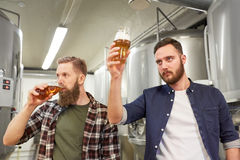 Men testing non-alcoholic craft beer at brewery. Production, manufacture, business and people concept - men testing non-alcoholic or craft beer at brewery Stock Images