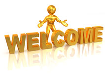 Men with text welcome. 3d Royalty Free Stock Photos