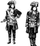 Men in the theatrical costumes Royalty Free Stock Photos