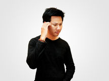 Men thinking. Asian teenager - thinking stock photo
