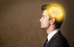 Men thinking with abstract icons on her head Royalty Free Stock Photography