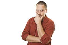 Men thinking with arms crossed Royalty Free Stock Photos