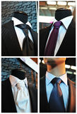 Men's ties. Collage in window shop Royalty Free Stock Images