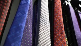 Men ties in a store. Men ties in a fashion clothes store stock footage