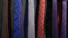 Men ties in a store. Men ties in a fashion clothes store stock video footage