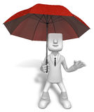 Men to avoid a red umbrella in rain Stock Images