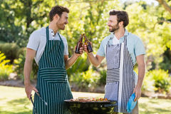 Men toasting beer bottle while preparing barbecue grill. In park Stock Image