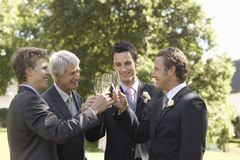 Men Toasting Champagne Flutes At Wedding. Happy four men toasting champagne flutes at wedding day Royalty Free Stock Photo