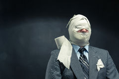 Men in toilet paper. Businessman in toilet paper in the bathroom Royalty Free Stock Images
