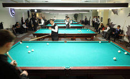 Men took part in championship in billiards Stock Photo