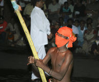 Men with torches participate the festival Pera Hera Stock Photography
