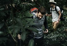 Men tourists trekking in a forest Royalty Free Stock Photography