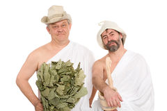 Men in a traditional attire of Russian bath Royalty Free Stock Photography