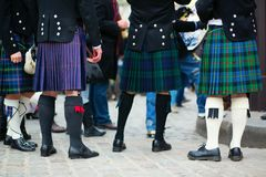 Men in traditional kilts. Outdoors royalty free stock photos