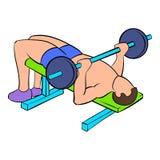 Men training on the bench press icon cartoon Royalty Free Stock Photography