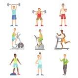 Men Training In Gym Set Royalty Free Stock Photo