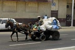 Men transport garbage royalty free stock photos