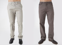 Men in trousers. On white background back and front views Stock Photos