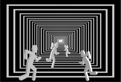 Men in the tunnel.  People competition. Running competition person vector. Business direction in square corridor. Light at the end of tunnel. Abstract Royalty Free Stock Photography
