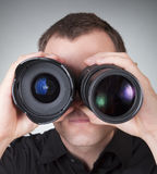 Men with two lenses Royalty Free Stock Images