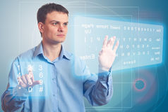 Men and Two Virtual Keyboard. Royalty Free Stock Images