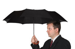 Men and umbrella. Isolated on white background stock photography