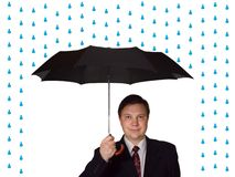 Men and umbrella. Isolated on white background stock images