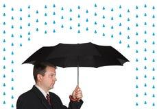 Men and umbrella. Isolated on white background royalty free stock photo