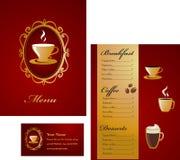 Menü- und Visitenkarteschablonenauslegung - Kaffee Stockbild