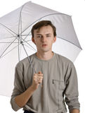 Men under umbrella Stock Photography
