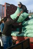 Men unloading sacks with fodder from a truck Stock Photography