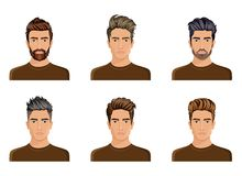 Men used to create the hair style of the character beard, mustache men fashion, image. Stylish hipster face, use options. Vector illustration Stock Photos