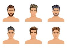 Men used to create the hair style of the character beard, mustache men fashion. Image, stylish hipster face. Vector illustration Royalty Free Stock Image
